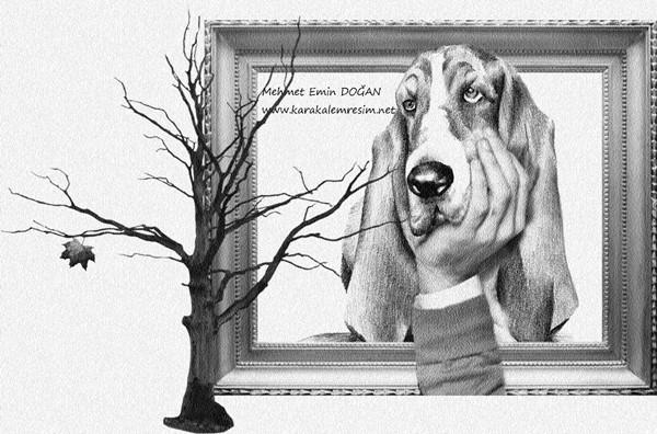 3d çizim örneğikarakalem Köpekdüşünen Köpek Resmi Insan Eliyle