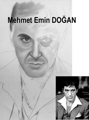 Karakalem alpacinio al pacino the father charcoal drawing portrait
