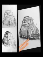 karakalem olarak çizilmiş klasik volkswagen beetle çizimi,1974 model modifiye klasik arabalar içinde güzel bir örnek,wv grubu araba tasarlama yaparken etkileyici çizgiler yapmış,arababa tasarım,tasarlama,karakalem çizilmiş tasarımlar,projeler,proje çizim