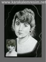 Karakalem portrede çok eski siyah beyaz fotoğraftaki deformeler düzeltilibelir görünmeyen alanlar bulanık yerler yeni tekniklerle tamir edilir bu örnektede görüldüğü gibi çizim uzun sürdü  sonuç güzel olduhanım portresi eski karakalem teknikleriyle