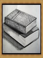 Karakalem Kitap çizimi,kara kalem kitap defter çalışması,karakalem eski kalın kitap örnekleri,ışık gölgesi bol örnekler