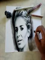 Ressam Canlı Çizim Yaparken çekilmiş videosuna ait bir fotoğrafı