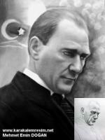 Mustafa Kemal Atatürk'e Ait Yöresel Kıyafetli,Şanlıurfa kültürüne yakın bir kıyafetle çekilmiş fotoğrafının karakalem olarak çalışması,çizimi,Atatürk'ün bilinmeyen fotoğraflarından alınmış ve resmedilmiştir.