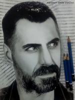 che guvere bolivar özgürlük liderinin ayrıca sakal ve bıyık çiziminden örnek ve kasketli uyumu karakalem resmi kirli sakal portre cizimi