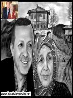 başbakan recep tayyip erdoğag'ın ve annesi tenzile erdoğanın aile fotoğrafndan karakalem portre resmi çizimi,arka fon rizedeki güneysudaki evi doğal ortamı eklendi,anneler günü hediyesi olarak başbakana verildi,özellikle gülerken ki fotoğraflarından seçil