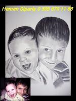 karakalem gülen cocuk cizimleri resimleri portre portresi