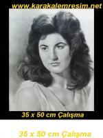 Karakalem eski türk kadınları serisi,saç stili,duruş,poz,farklılıklarının kuşun kalemle ele alınması,1923 ile 1960 arası türk kadını imajı,cahide sonku en iyi örnek olarak öznümüzdedir.Bu çizim ise 1960 yıllara ait bir bayana ait fotoğraftan çizimdir.