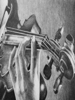 karakalem çalgı aletleri içinde en sevdiğim çizim keman çizimleridir.kemenın tel kısmı biterse resim bitmiş demektir.Zor olan eğer el var ise elin duruşundaki kıvrımlar arası gölgeler zordur.bu resim doğal bir çizimdir peçete v.s kullanılmamış
