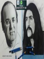 ugur mumcu ve barış manco karakalem portre çalışması yapıldı