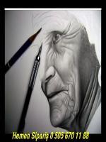 karakalem yaşlı kadın çizim aşaması